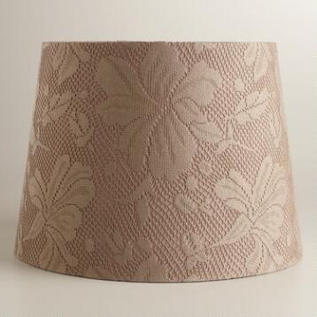 Taupe Lace Hibiscus Table Lamp Shade