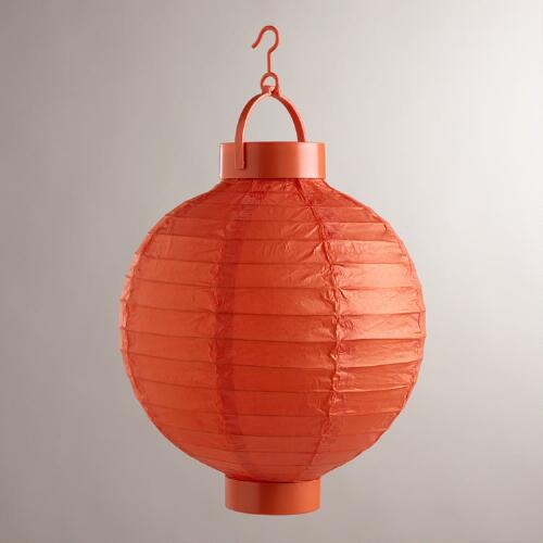 Spicy Orange Battery-Operated Paper Lanterns, Set of 4