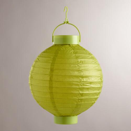 Green Battery-Operated Paper Lanterns, Set of 4