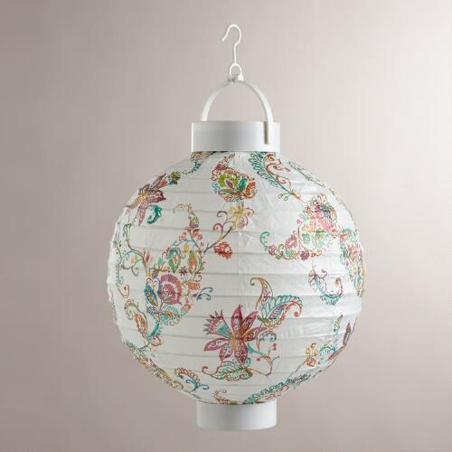 Antigua Paisley Battery-Operated Paper Lanterns, Set of 4
