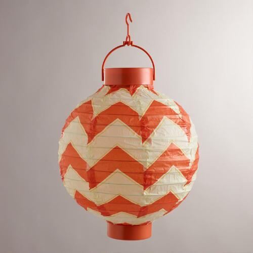 Chevron Battery-Operated Paper Lanterns, Set of 4