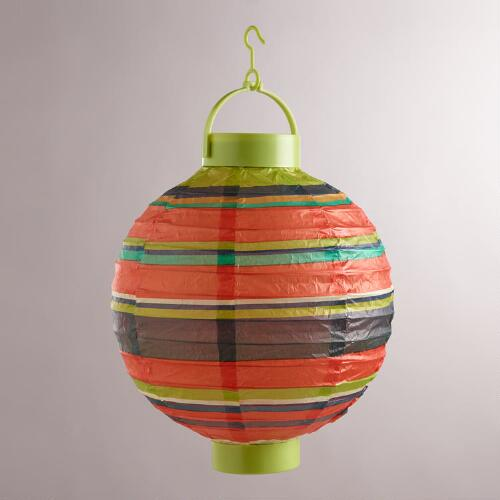 Harbour Stripe Battery-Operated Paper Lanterns, Set of 4