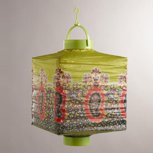 Caribe Paisley Battery-Operated Paper Lanterns, Set of 3