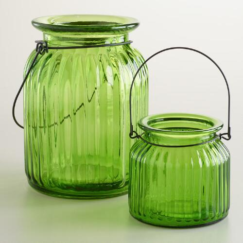 Green Ribbed Glass Lantern Candle Holders