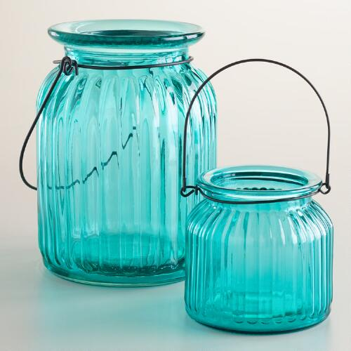 Teal Ribbed Glass Lantern Candle Holders