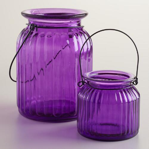 Purple Ribbed Glass Lantern Candle Holders