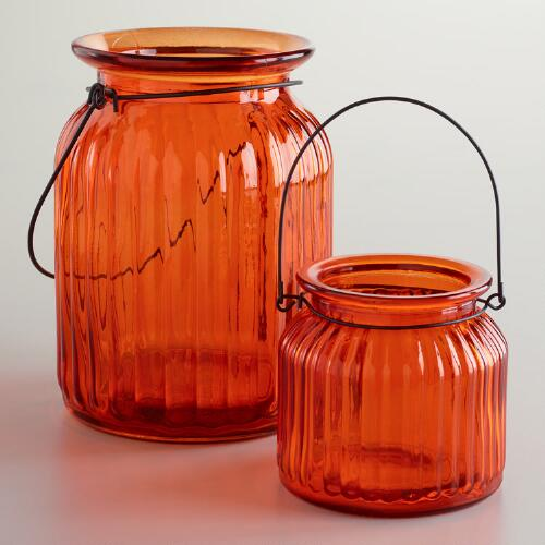 Orange Ribbed Glass Lantern Candle Holders