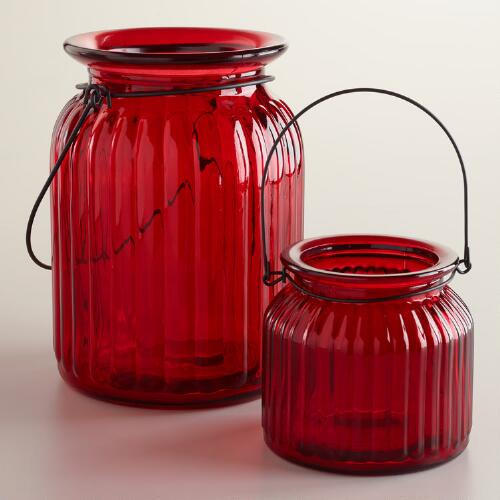 Red Ribbed Glass Lantern Candle Holders