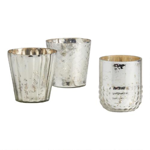 Silver Mercury Glass Votive Candleholders, Set of 3