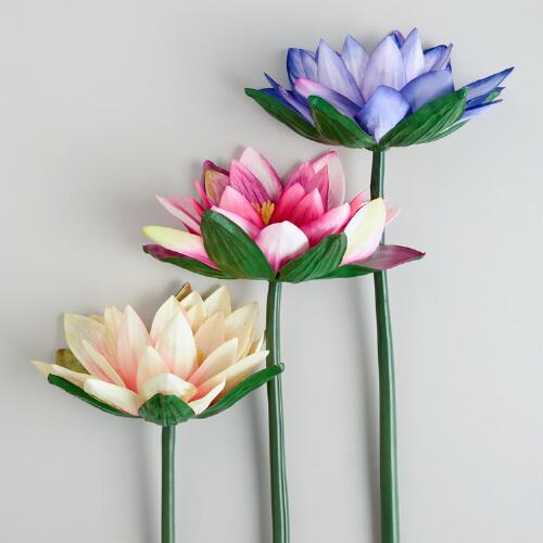 Water Lily Stems, Set of 3