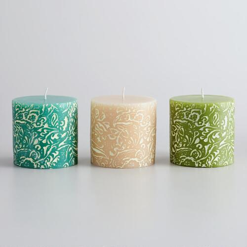 "3"" Nora Print Unscented Pillar Candles, Set of 3"