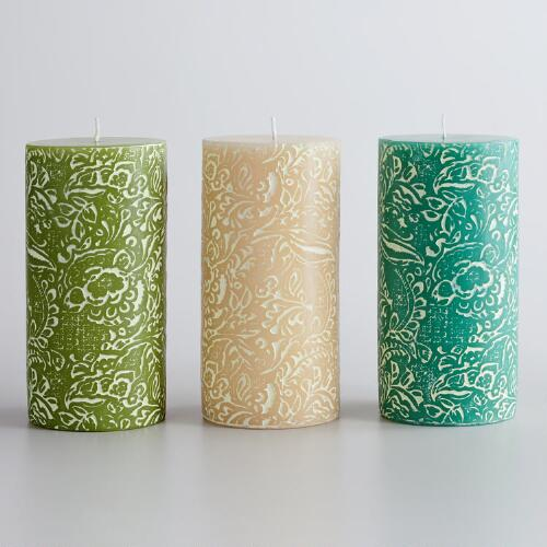 "6"" Nora Print Unscented Pillar Candles, Set of 3"