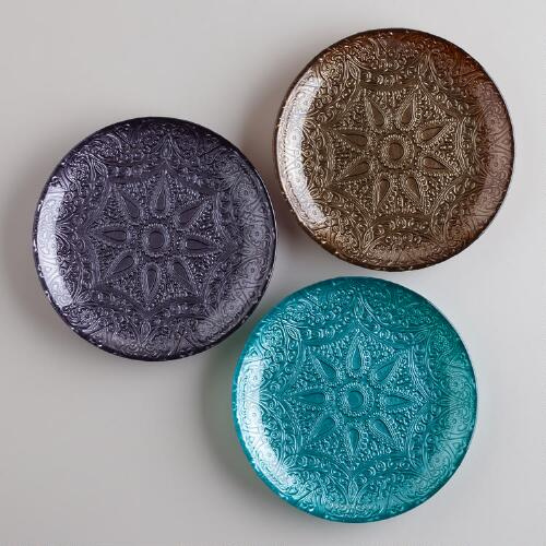 Embossed Glass Pillar Candle Plates, Set of 3