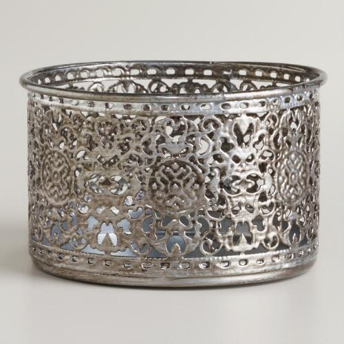 Silver Lace Tealight Candleholder