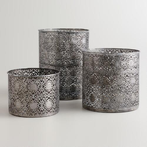 Silver Lace Candleholders