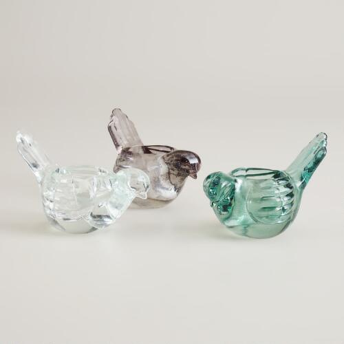 Glass Bird Tealight Candleholders, Set of 3