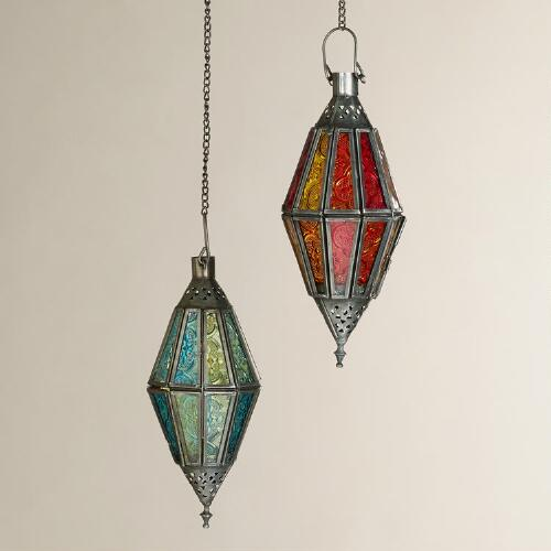 Small Antigua Pieced Glass Lanterns, Set of 2