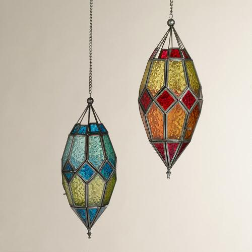 Large Antigua Pieced Glass Lanterns, Set of 2