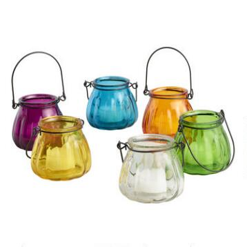 Glass Melon Tealight Lantern Candleholders, Set of 6
