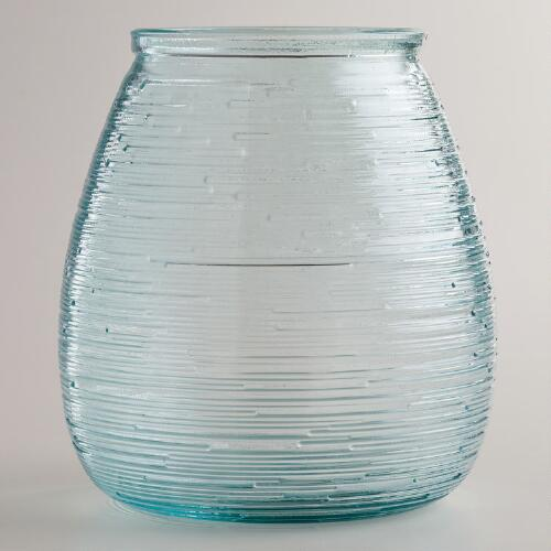 Ribbed Glass Hurricane Candleholder