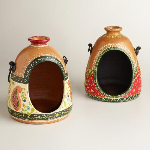 Antigua Painted Terracotta Lanterns, Set of 2