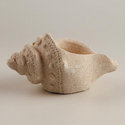 Small Sandstone Seashell Tealight Candleholder