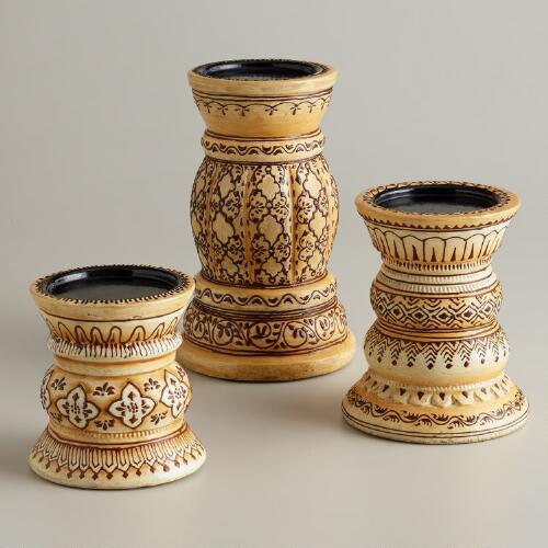 Ivory Terracotta Henna Candle Holders
