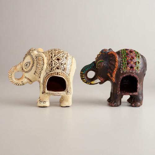 Painted Terracotta Elephant Lanterns, Set of 2
