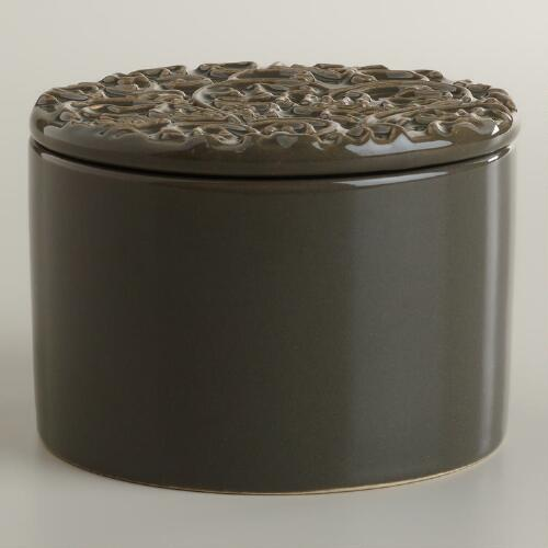 Lotus Flower Filled Ceramic Candle