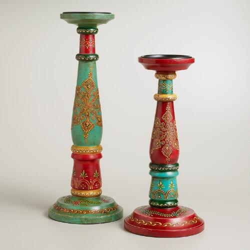Abha Painted Pillar Candleholders
