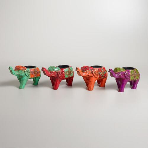 Abha Painted Elephant Tealight Candleholders, Set of 4