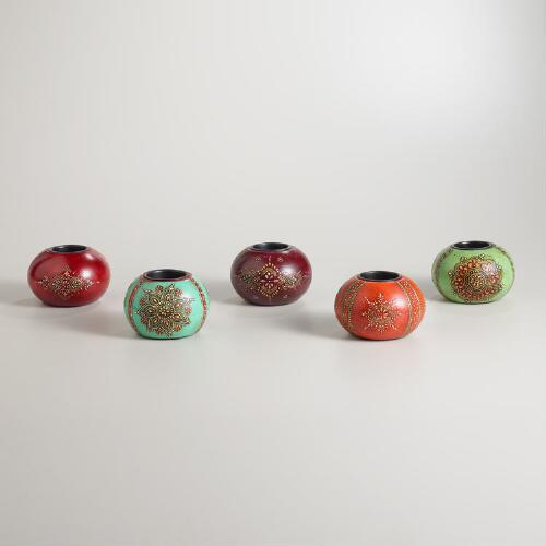Abha Painted Ball Tealight Candleholders, Set of 5
