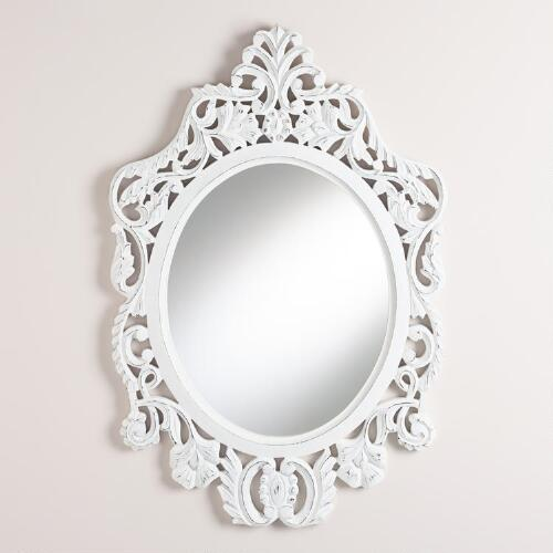 White Oval Olivia Carved Mirror