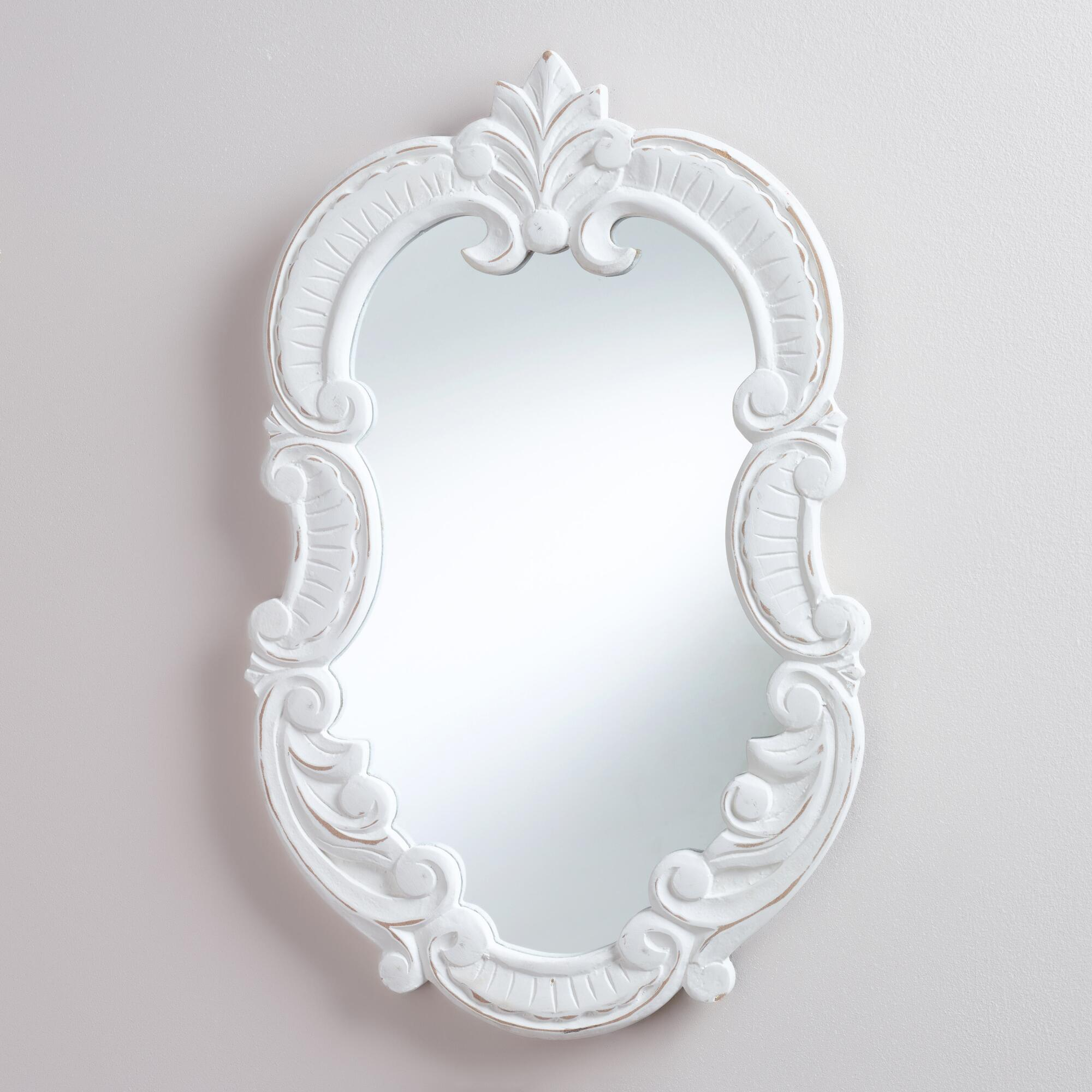 White oval adella scroll mirror world market for White mirror