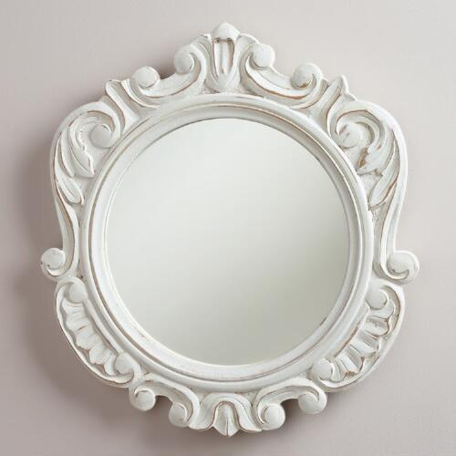 White Round Adella Scalloped Mirror
