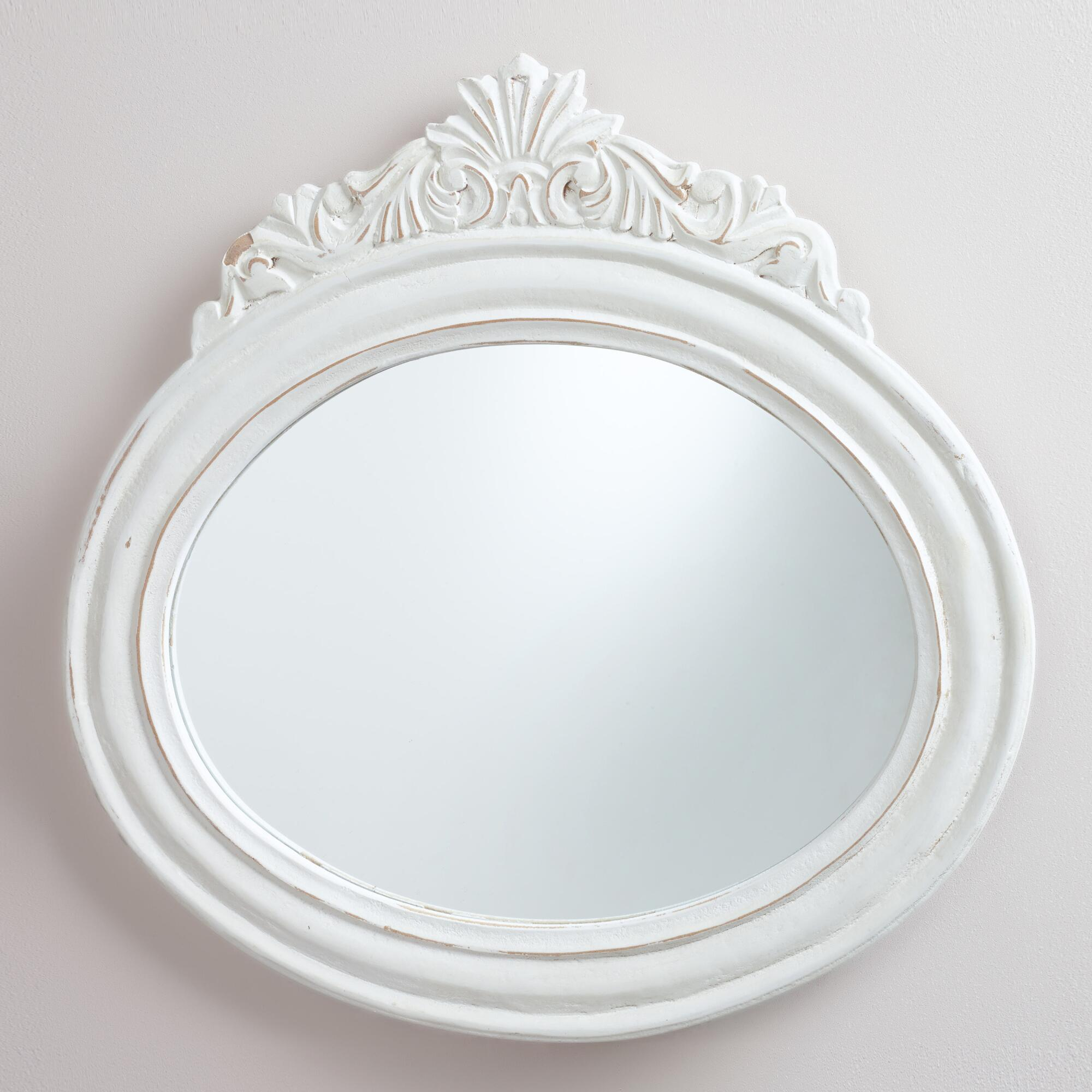 White oval adella mirror world market for White mirror