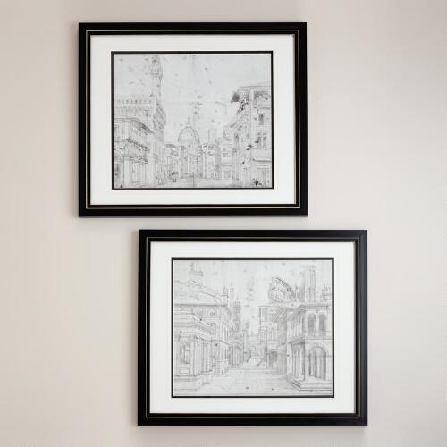 """Roman Perspective"" by Baldassare Peruzzi, Set of 2"