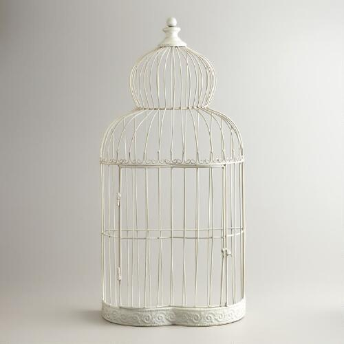 White Metal Birdcage