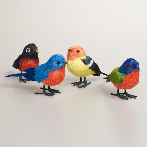 Natural Fiber Songbirds, Set of 4