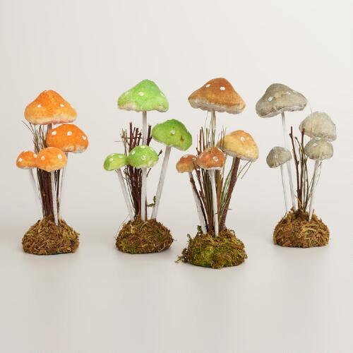 Twig and Moss Mushroom Decor, Set of 4