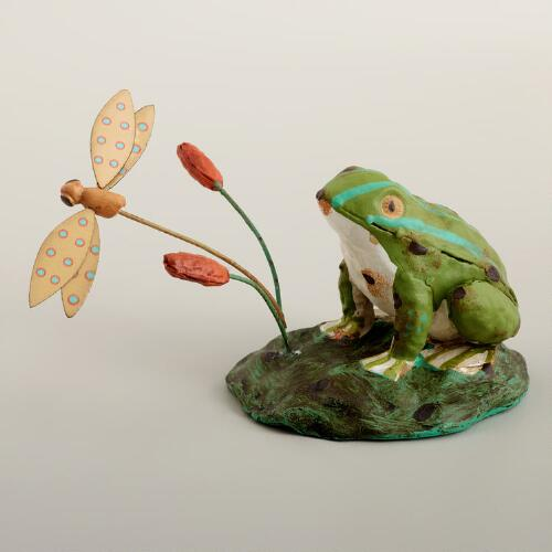 Frog with Dragonfly Decor