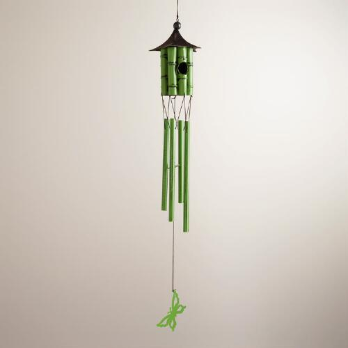 Metal Faux-Bamboo Birdhouse Wind Chime