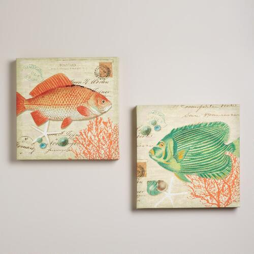 """Seaside Vintage Fish"" by Suzanne Nicoll, Set of 2"