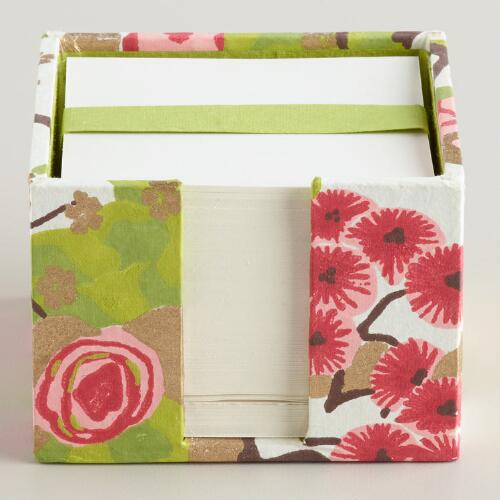 Pink and Green Spring Handmade Note Cube