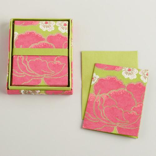 Pink and Green Poppy Handmade Boxed Notecards, Set of 8