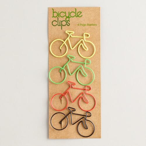 Bicycle Paper Clips, Set of 4