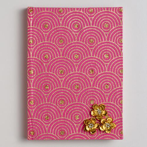 Pink Sequined Flower Handmade Journal