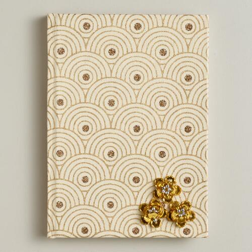 Beige Sequined Flower Handmade Journal