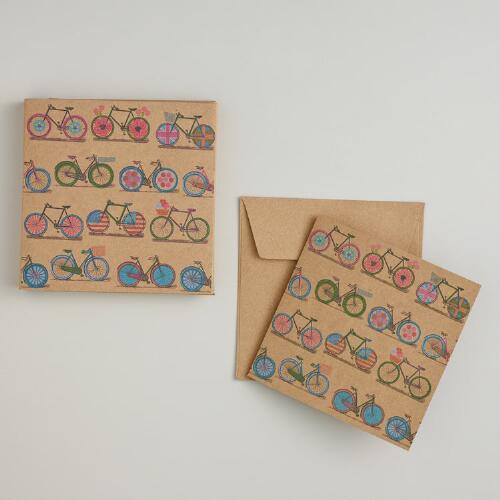 Bicycle Print Kraft Cards, Set of 10
