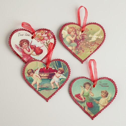 Valentine Vintage Reproduction Postcard Ornaments, Set of 4